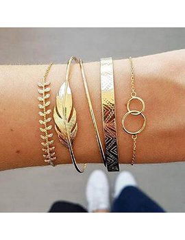 Fashion Gold Metal Leaf Ring Bracelet