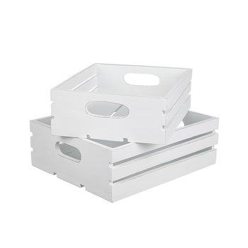 Låda Trä vit 2-pack