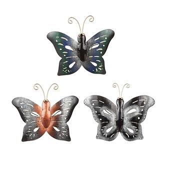 Fjäril i hamrad plåt, koppar 15x19 cm