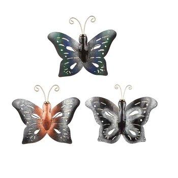 Fjäril i hamrad plåt, gråsvart 15x19 cm