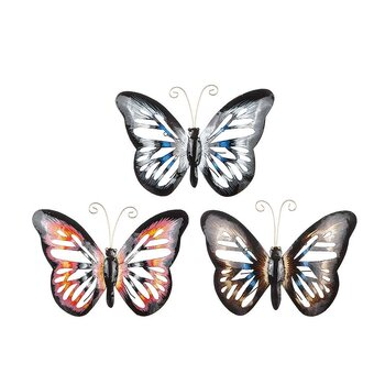 Fjäril i hamrad plåt, blåsvart 30x40 cm