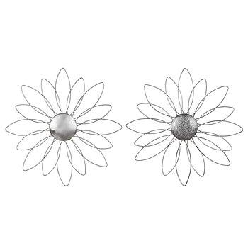 Blomma Vägg Smide, 25 cm silvergrå
