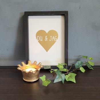 Tavla i trä - Du & Jag, guld