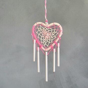 Drömfångare hjärta vindspel Rosa