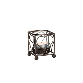 Candle lantern Heart, black gold 9 cm