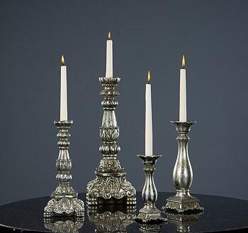 Candlestick Ava Antik Silver Poly 9x30,5cm
