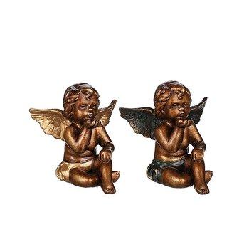 Ängel Alexander gyllenbrun 14 cm, guldvingar