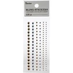 Darice - Rhinstone stickers -  guld/silver nyanser