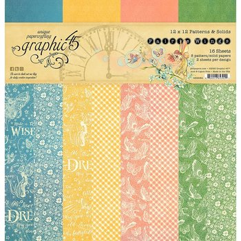 "Graphic45 - Fairie Wings-  baspapper Patterns & Solids 12"" x 12"""