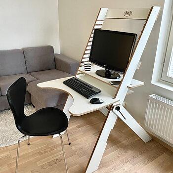 PRO-arbeidsstasjon 80 med armstøtte, skrivebord hvit