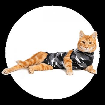 Återhämtningsbody  / medicinskbody  / skyddsbody / operationsbody till katt ( camo svart  ) från 329kr