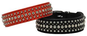 Halsband nitar & kristaller Röd & Svart