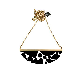 Lunar  Necklace,   black & white puzzle / black tutti frutti