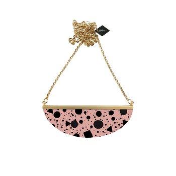 Lunar Necklace,  pink black /yellow black confetti