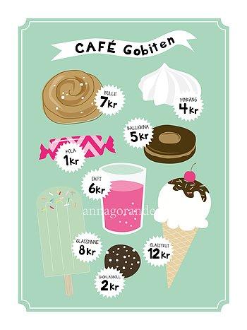 Cafe grönturkos 30x40