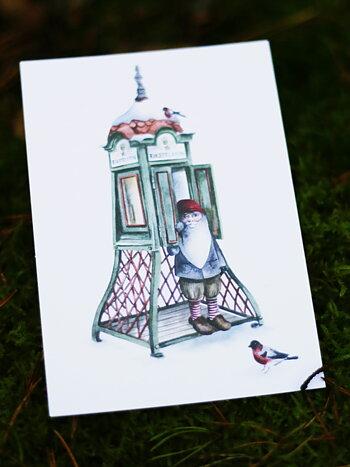 Telefonkiosk, vikt kort med kuvert