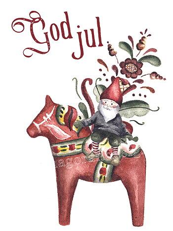 Julkort  - Dalahäst och kurbits