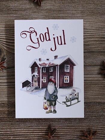 Julkort  - Falurött hus
