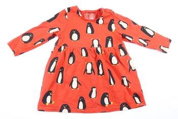 Nyskick! Röd långärmad klänning med pingviner från Lindex i storlek 74