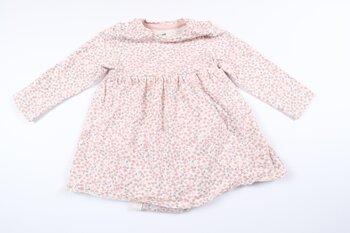 Blommig långärmad klänning med inbyggd body från H&M i storlek 68