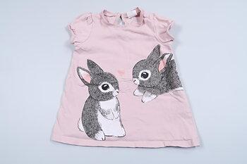 Rosa tunika med kaniner från H&M i storlek 74