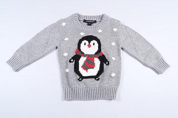 Nyskick! Grå stickad tröja med julmotiv från My Wear Baby i storlek 74