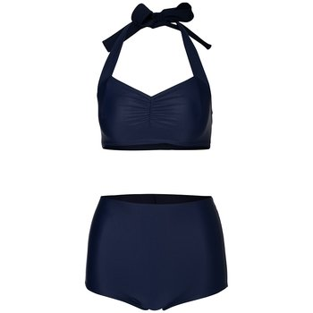 Navy high bikini bottoms