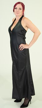 Long halterneck dress in  vegan leather