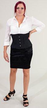 Pinstripe-striped underbust corset