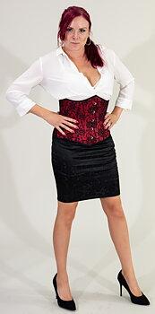 Duchess röd / svart underbust korsett