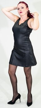 A-line dress in PU leather