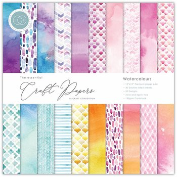 "Watercolours,12x12"" block, Essential Craft Papers,  Craft Consortium"