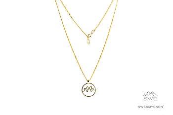 Hjärnvåg av kärlek - Halsband 60cm, 18k guldpl-silver
