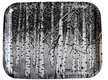 Björkbricka stor svart/vit 28 x 36 cm