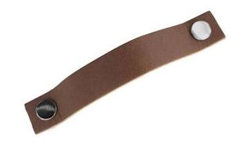 Handtag läder brunt C/C 128mm(flera metallval på fästet)