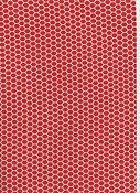Klarröd botten med vitt hexagonmönster.