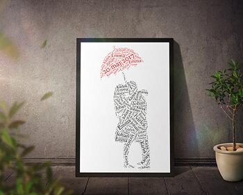 Kärlekspar med rött paraply