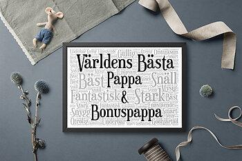 Inramad Världens bästa pappa & bonuspappa
