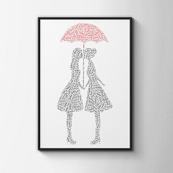 Kärlekspar med rött paraply - tjejer