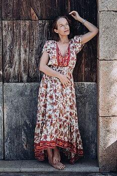 Nafisa Dress Closed Hibiscus Border Red