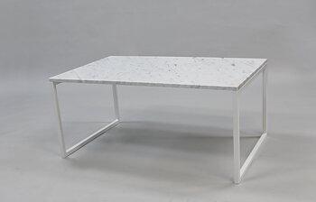 Marmorbord, vit 100x60x45 cm, vitt underrede svävande
