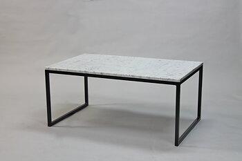 Marmorbord, vit 100x60x45 cm, svart underrede halvkub