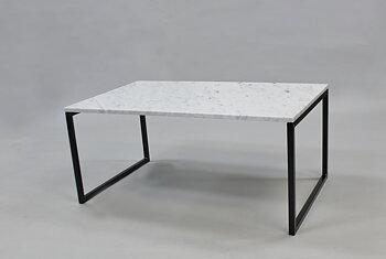 Marmorbord, vit 100x60x45 cm, svart underrede svävande