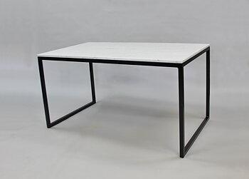 Matbord ,Marmorbord, vit 140x80x74 cm, svart underrede halvkub