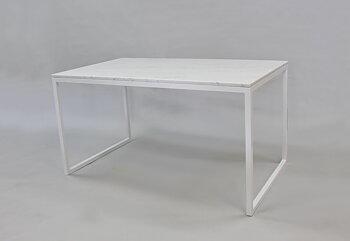 Matbord ,Marmorbord, vit 140x80x74 cm, vitt underrede halvkub