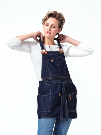 Drew Denim Bib Apron - carpenter-style apron