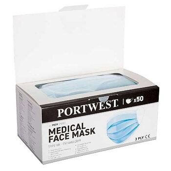 Munskydd och andningskydd  typ IIR Portwest 50 Pack öron band