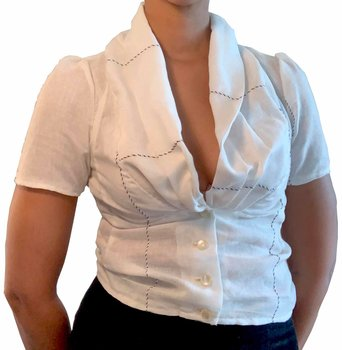 Blouse with draped collar