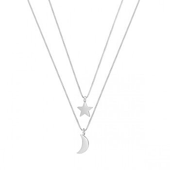 Star & Moon Duo Necklace Steel - Bud to Rose