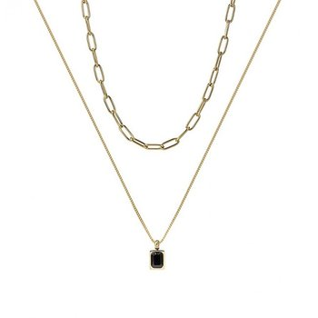 Grace Chain Duo Necklace Black/Gold - Bud to Rose